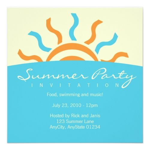 Pool Party Invitations Summer Party Invitation  Pool Birthday