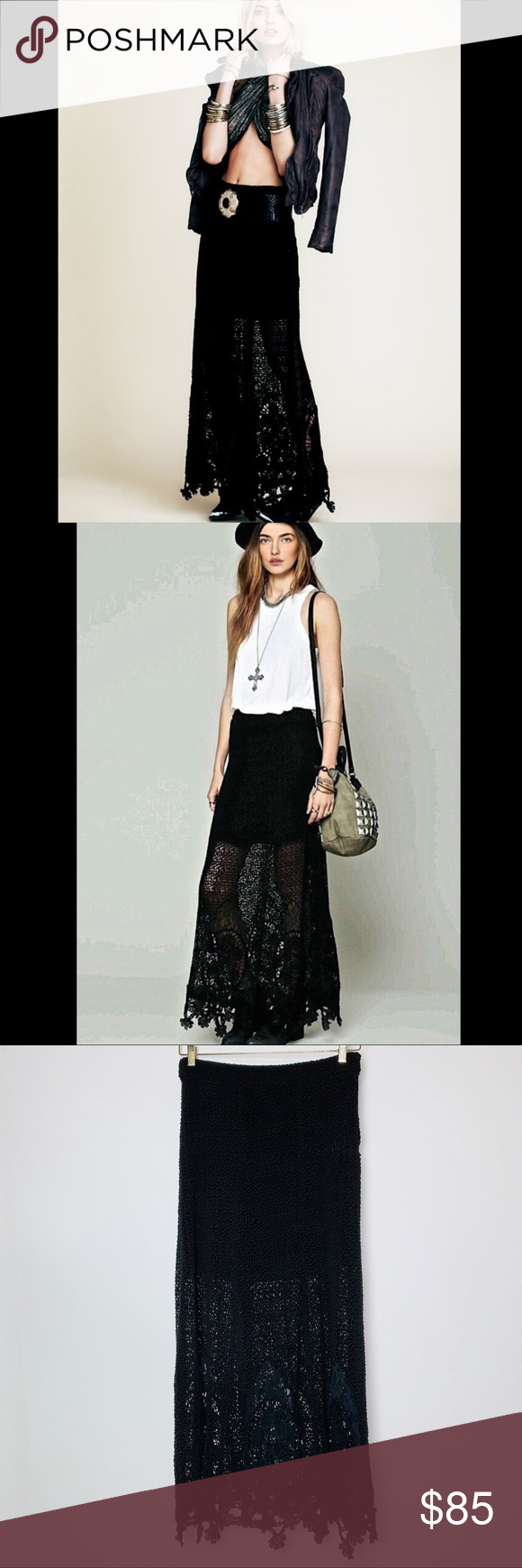 """Free People Black Crochet Mi Amore Maxi Skirt (10) Free People Mi Amore Black asymmetrical crochet hem maxi skirt. Gorgeous semi sheer maxi skirt, fully lined to 19"""". Crochet overlayed maxi skirt with intricate crochet detailing around bottom hem. Bottom hem is scalloped floral crochet. Zipper closure on side of hip.  Excellent condition without flaws.   Size 10 16"""" across waist 18"""" across hips 19"""" slip length 43"""" skirt length  E Free People Skirts Maxi"""