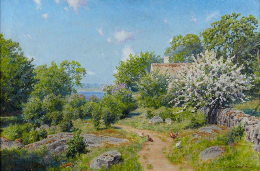 Johan Krouthén (1858-1932) - Gårdsidyll med pickande höns,1910 (590x900)
