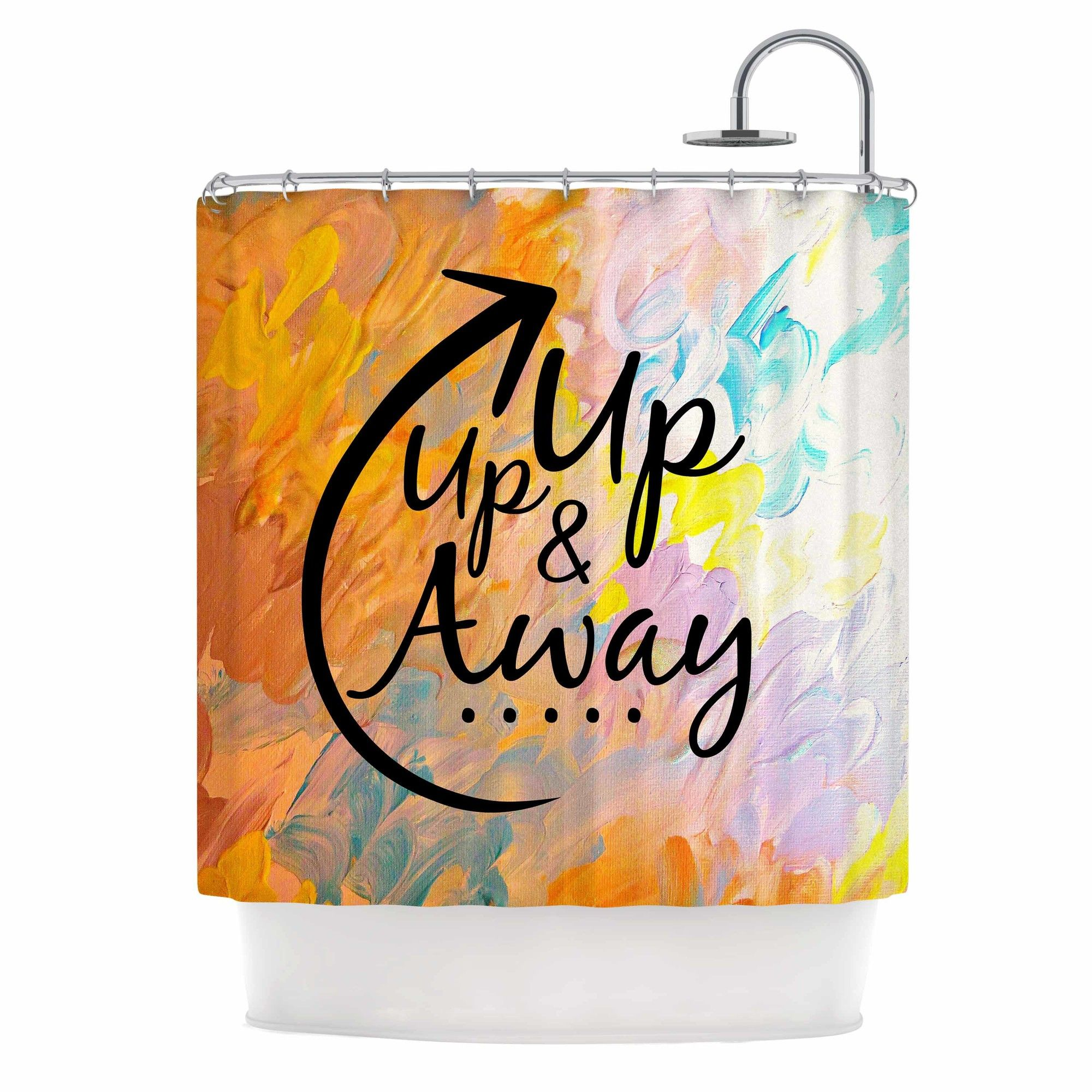 Up Up & Away by Ebi Emporium Typography Shower Curtain