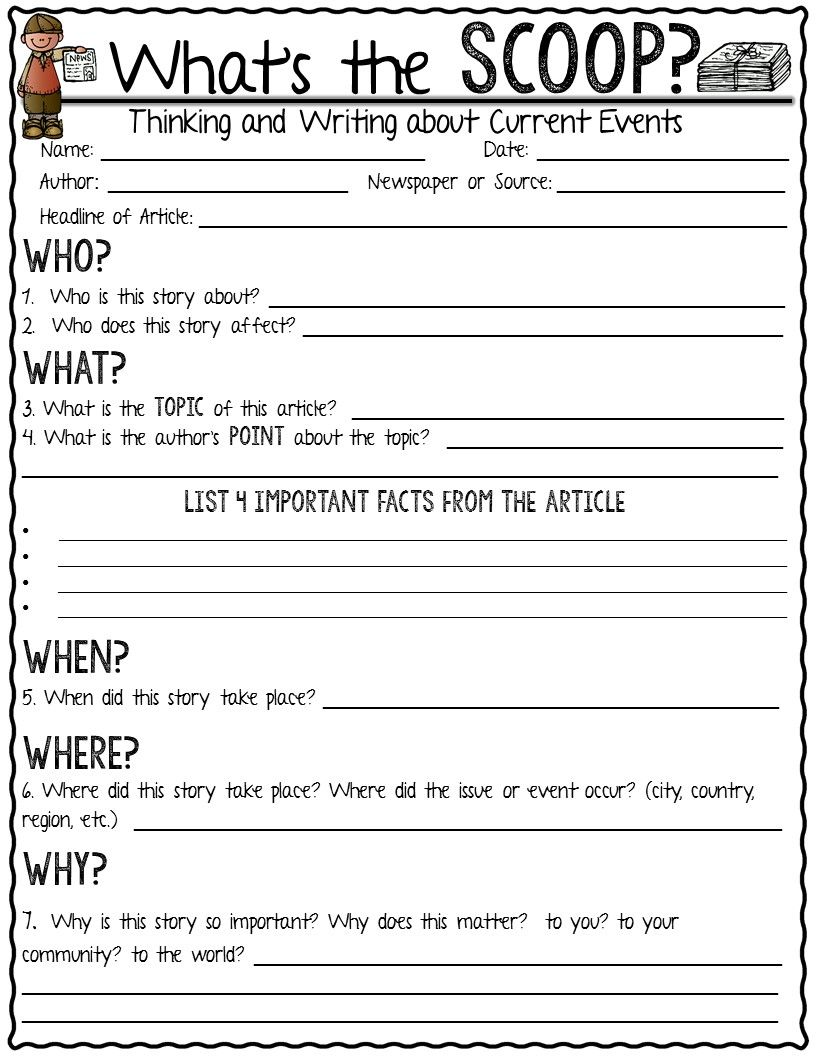 Current Event Newspaper AssignmentWhatS The Scoop  Current