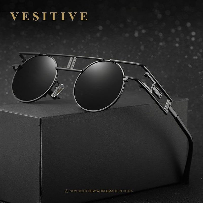 0329c43ceb5 Unique+Gothic+Brand+design+Polarized+Sunglasses+Men s+Round+Glasses+Leisure+ Goggles+Women+S