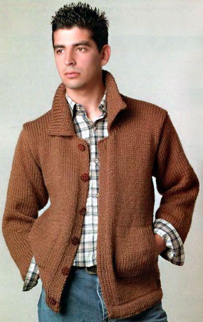 мужской жакет с карманами и на пуговицах вязание для мужчин