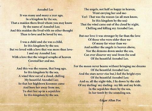 Horror Princess Tragic I Love Edgar Allan Poe X Annabel Lee Poems Best Poems