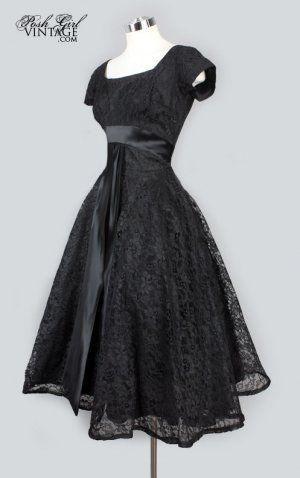 ba690c70144 1950 s Black Lace Tea Length Evening Dress by rosalie