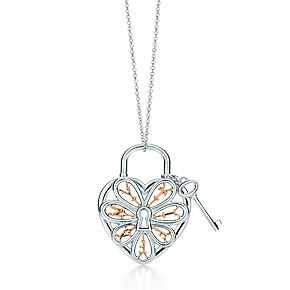 Tiffany filigree heart pendant with key in silver and 18k rose tiffany filigree heart pendant with key in silver and 18k rose gold large aloadofball Choice Image