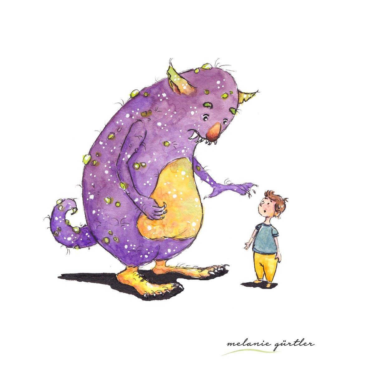 Monster Illustration Kinderbuch Aquarell Buntstift Melanie