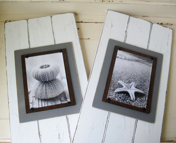 Set of 2 Distressed White Long Wood Plank Frame for 5x7 Picture ...