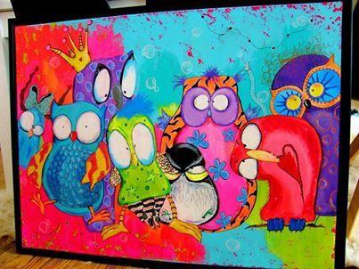 Ugler i glade farver (der er mange flere skønne malerier på hendes facebookside).