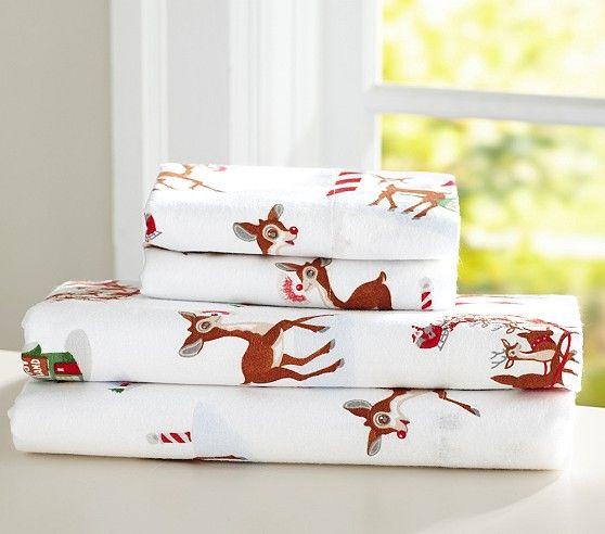 Rudolph Flannel Sheet Set | Pottery Barn Kids | Holiday Decor ...