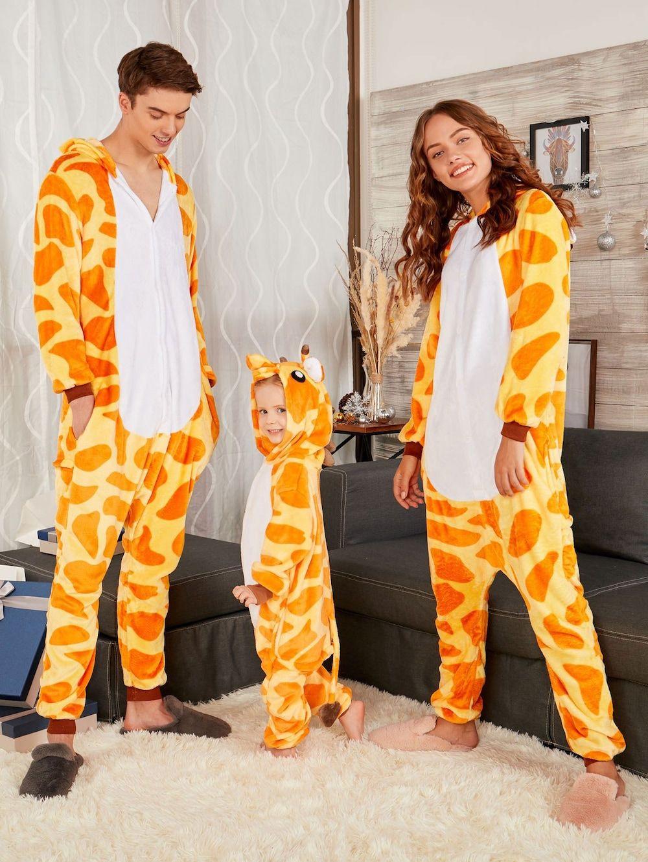 c563c1d1bb Cute Giraffe Animal Christmas Family Onesie Pajamas - YELLOW DAD S Family  Christmas Onesies