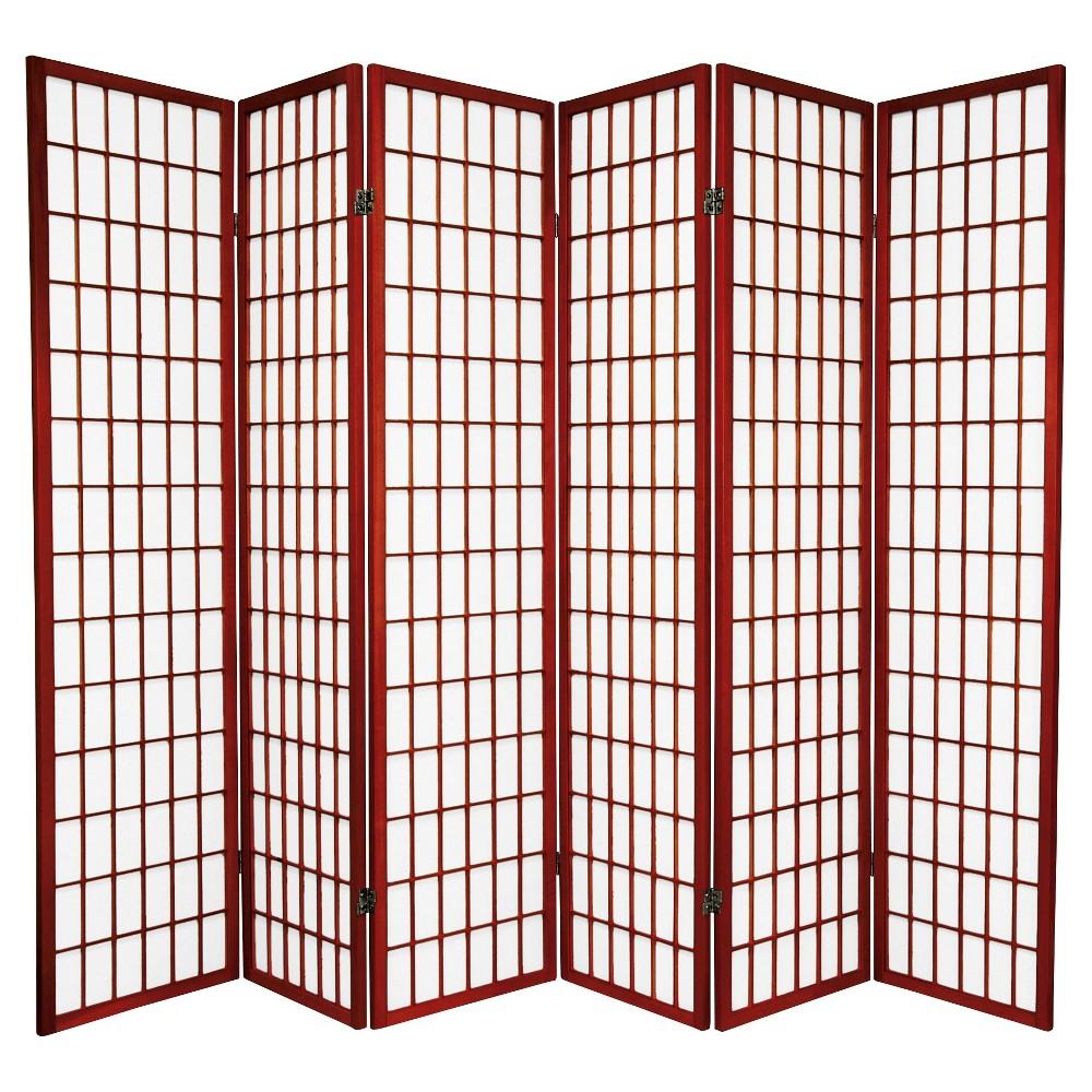6 ft. Tall Window Pane Shoji Screen - Rosewood (6 Panels), Red