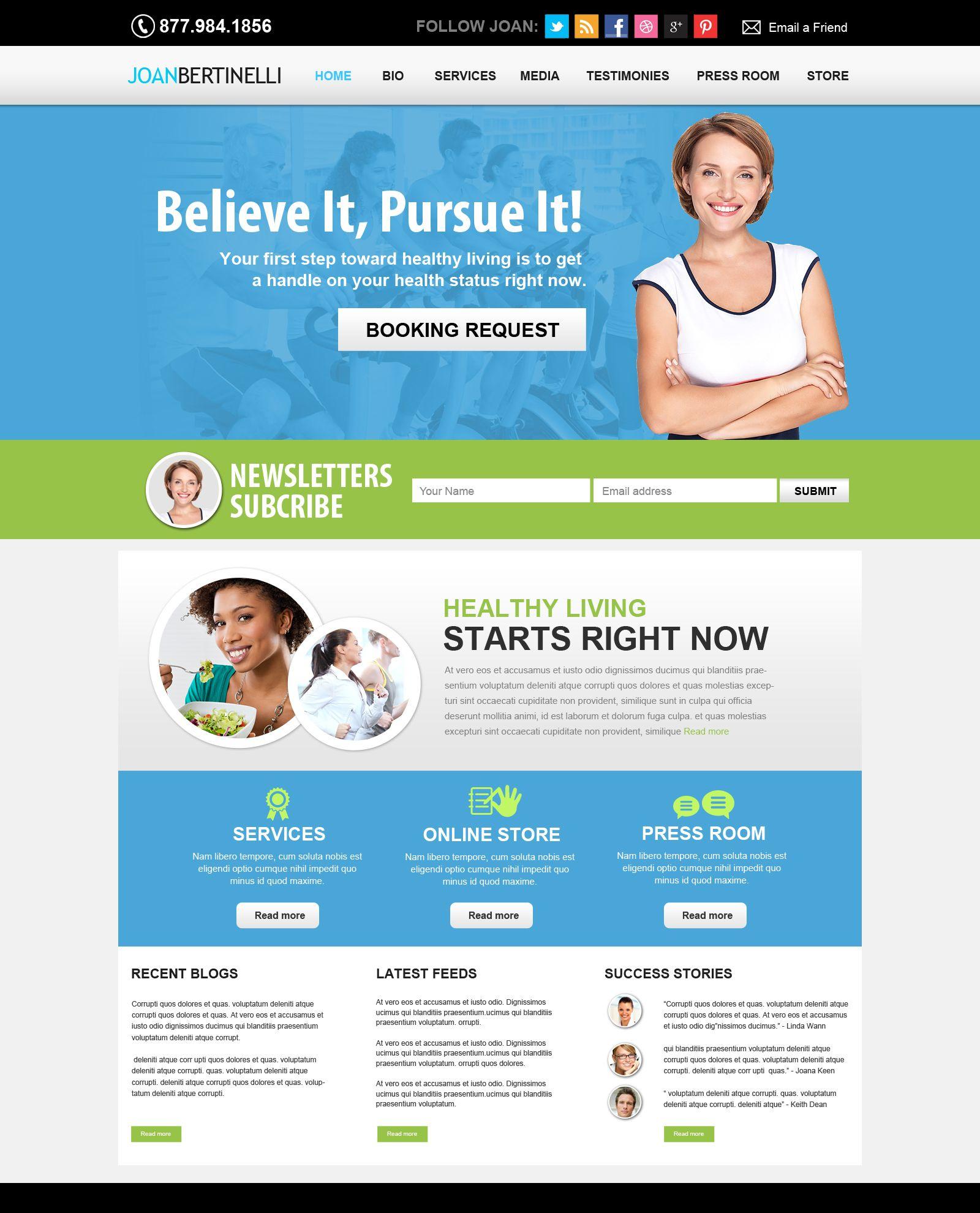 Health and Fitness Website. Nutritionist website, wellness
