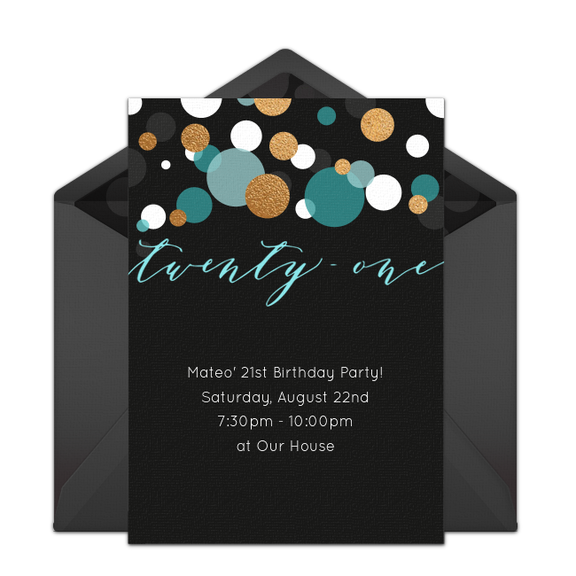Free 21st Birthday Invitation Modern Online You Can Personalize And Send Via Email Great Way To Invite Friends Celebrate At A Milestone