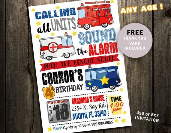 Emergency Vehicles Birthday Party Invitation printable digital file invites photo Fire truck Police Source link