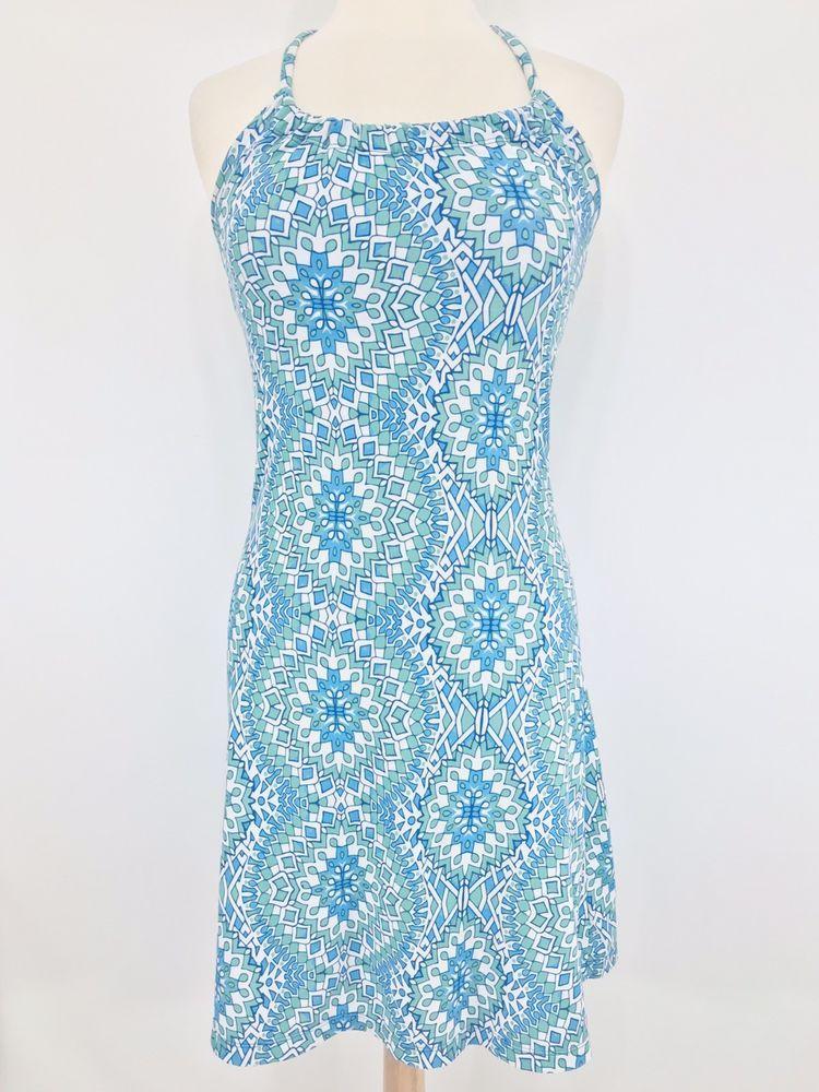 461b79edc23 Prana Strappy Racerback Dress Size XS Blue Green White Jersey Knit Shelf Bra   prAna  AthleticDresses