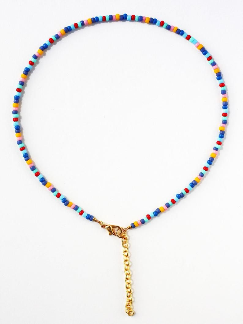 Colorful Dainty Beaded Choker Necklace in Blue, Re