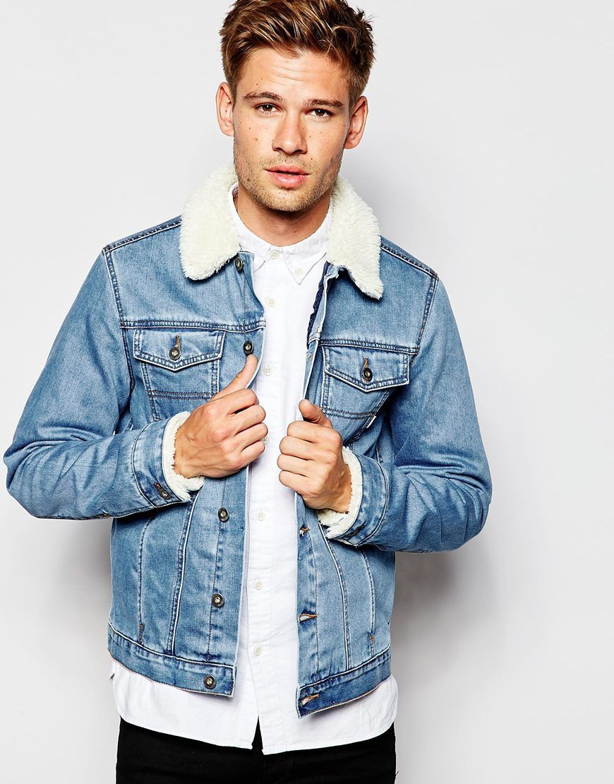 079b3a3e82 Image 1 of ASOS Denim Jacket With Borg Collar In Blue Wash