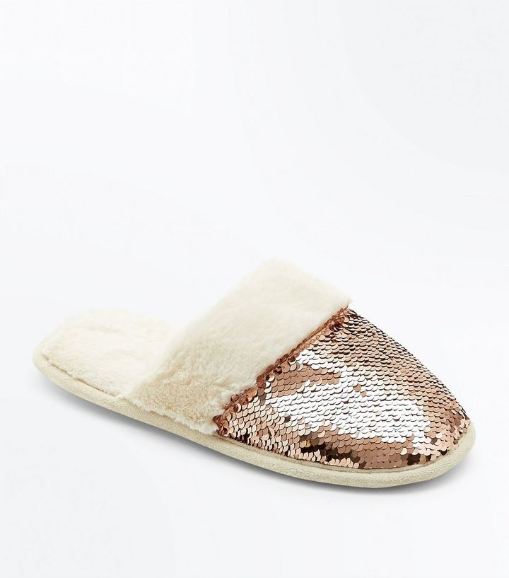 Rose Gold Sequin Faux Fur Mule Slippers | Sequins, Fur and Rose
