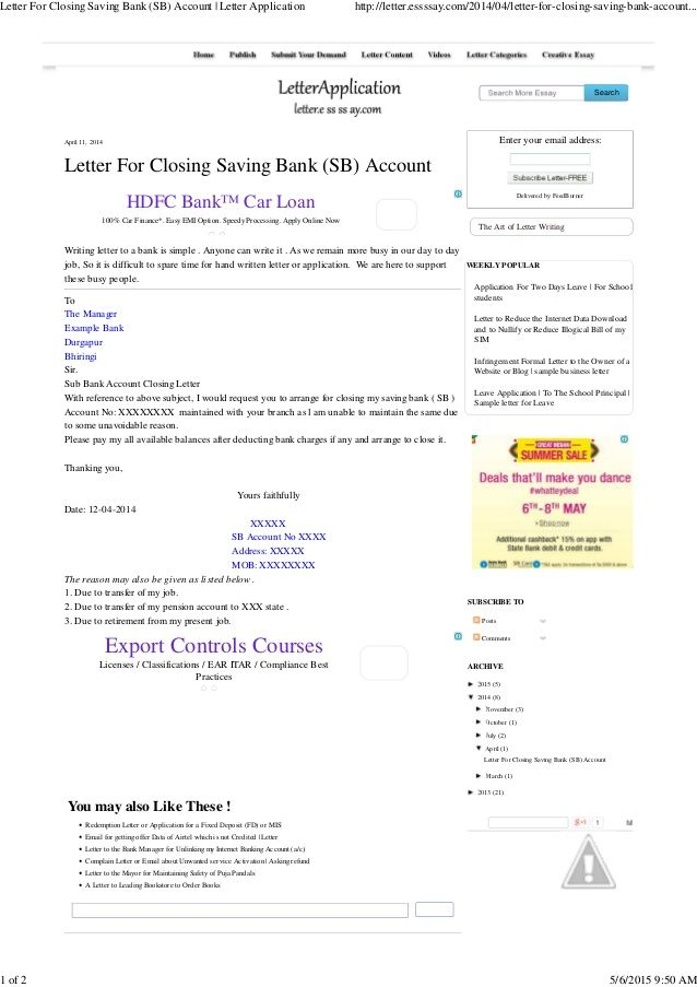 letter for closing saving bank account application templates free - closing statement