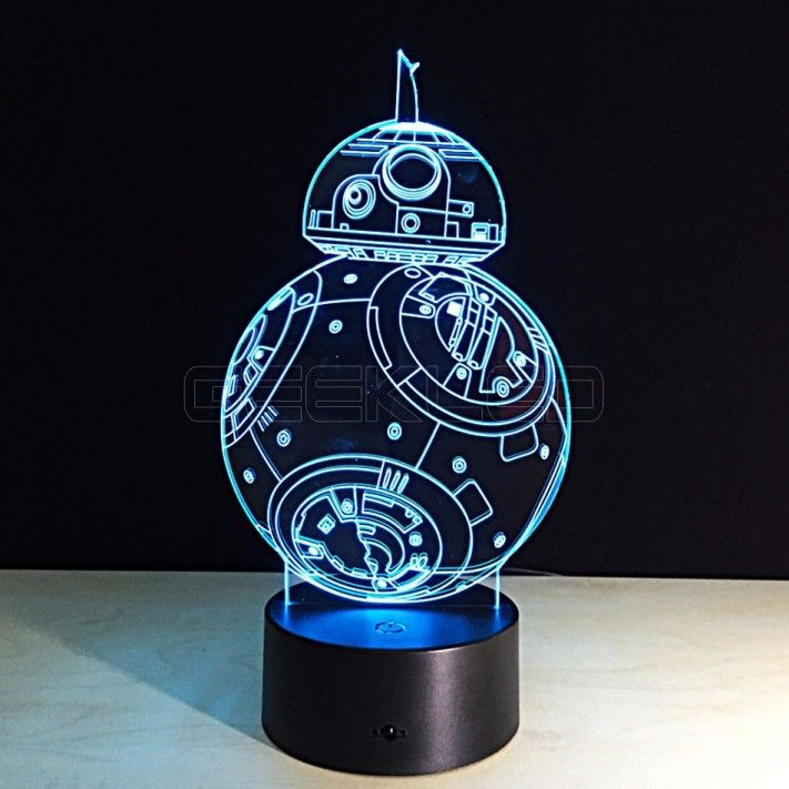 3d Optical Illusion Lamp Night Light Force Awaken Robot Geekled Gift 3d Led Night Light Star Wars Lamp 3d Night Light