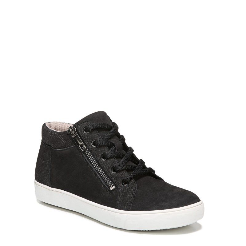 Womens high top sneakers, Black leather
