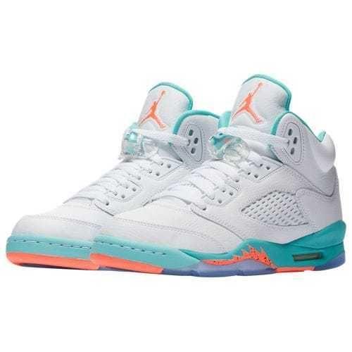 Nike-Air-Jordan-Retro-V-5-White-Crimson-Pulse-Light-Aqua-Black-440892-100- Girls 3251e21b5