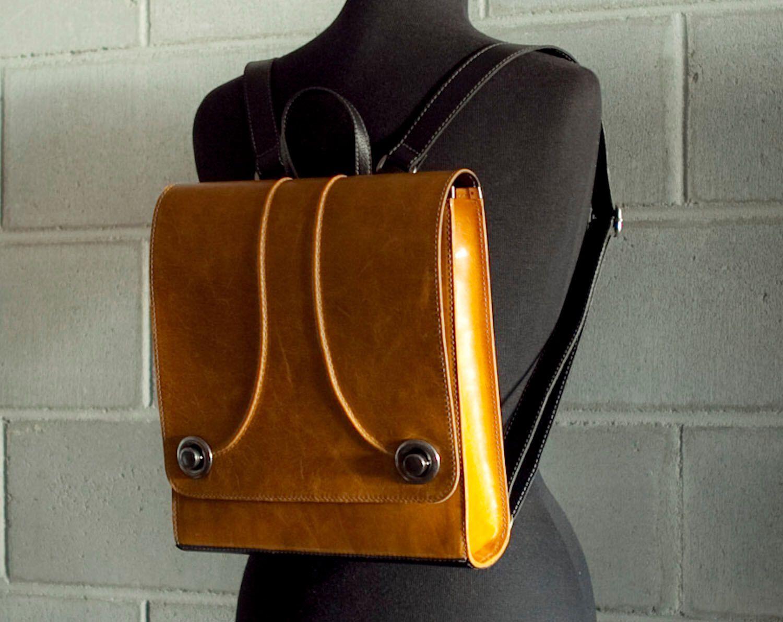 Leather backpack purse, mustard yellow Raya by Rimanchik on Etsy ...