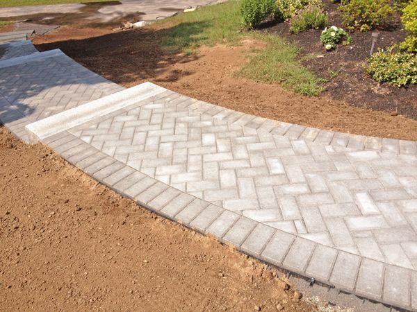 Brick Paver Patio Herringbone Walkway