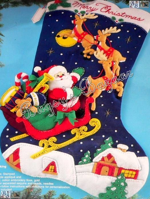 "Bucilla Jumbo Over The Rooftops Stocking Santa Sleigh Felt Christmas Kit 28"" | Felt christmas ..."