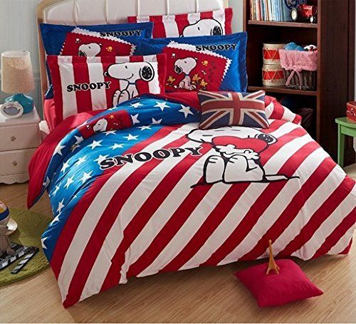 Copripiumino Snoopy.Snoopy Bedding Set Duvet Cover With White Comforter Inside Queen