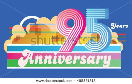 95 years anniversary logo with cloud and soft color rainbow. anniversary logo for birthday, wedding, celebration, and party. vector illustration