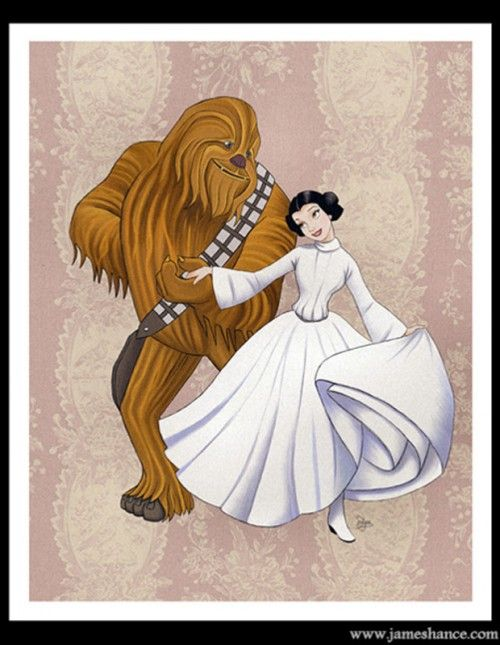 The Wookie and the Beast. I love this site too. http://geekiss.com/2012/10/repercussao-disney-star-wars/#axzz2PL2sBdAF