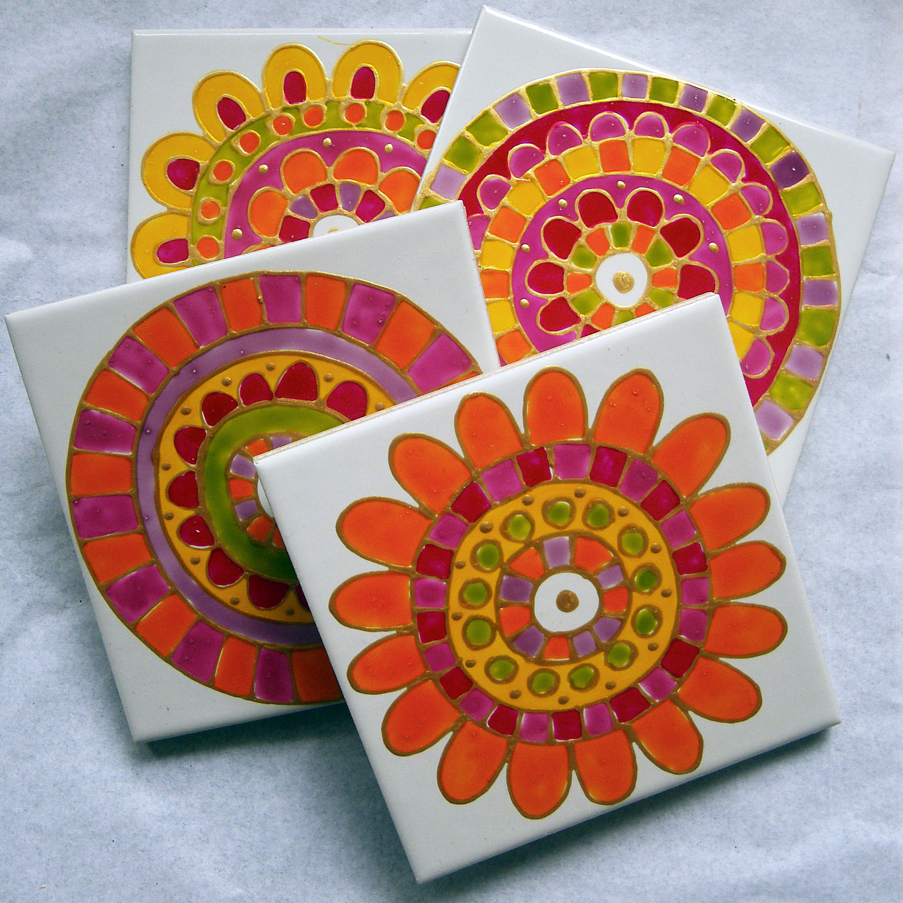 hand painted ceramic tile coasters www
