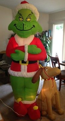 gemmy christmas grinch inflatable max dog 8 lighted christmas decoration