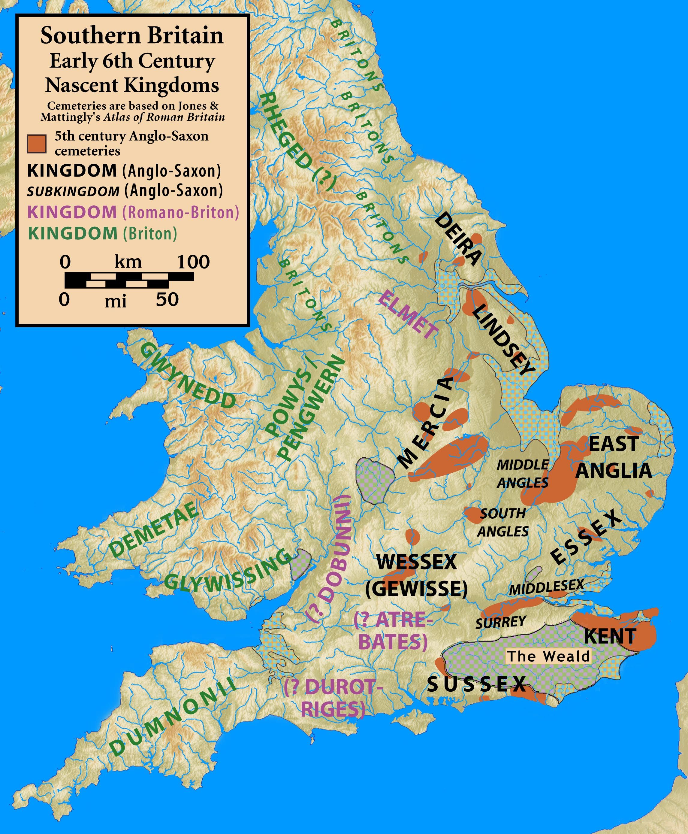Map Of Old England Wessex.6th Century Britain Maps Map Of Britain Historical Maps Anglo