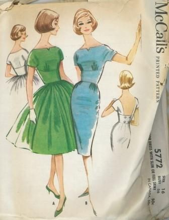 An original ca. 1961 McCall's pattern 5772.  Misses' or Junior Dress with Slim or Full Skirt. Midriff dress with slim three-gore skirt or gathered four-gore skirt. Bateau neckline back and front or deep square at back. Slim skirt and bodice gathered to midriff at side front. Bodice and midriff are lined. Unmounted short sleeves. Back midriff of low neck dress trimmed with buttons. Left side zipper placket.