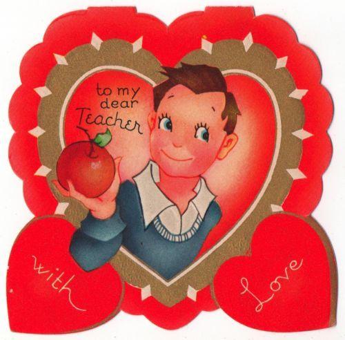 Vintage Greeting Card Valentine Boy To Teacher VP110  Vintage