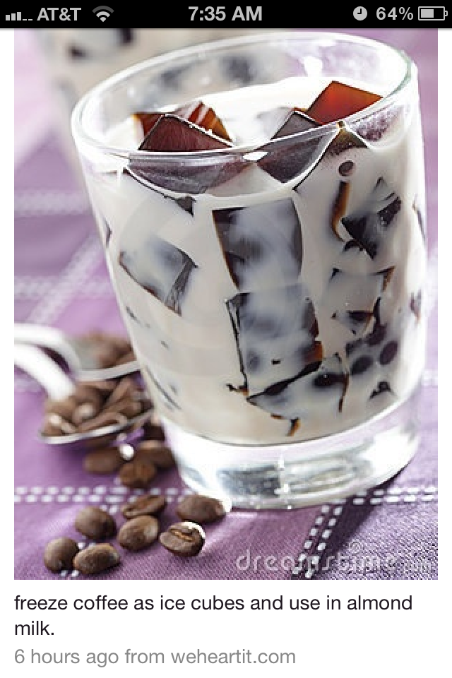 Freeze coffee as ice cubes. Use is almond milk.