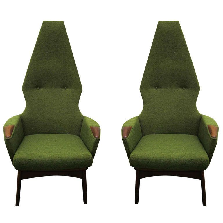Incredible Pair Of Adrian Pearsall High Back Chairs Midcentury Danish Camellatalisay Diy Chair Ideas Camellatalisaycom
