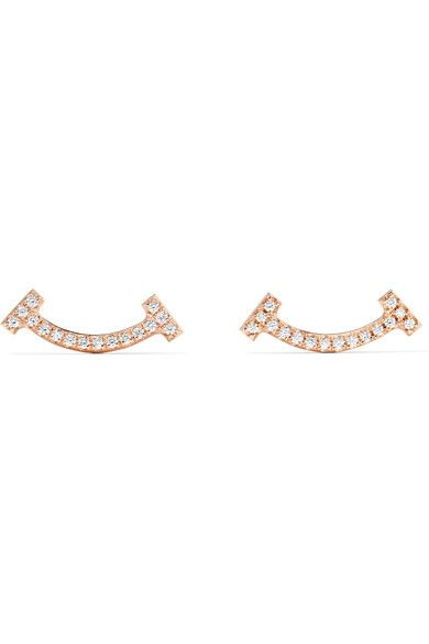 e59688897 TIFFANY & CO. T Smile charming 18-karat rose gold diamond earrings