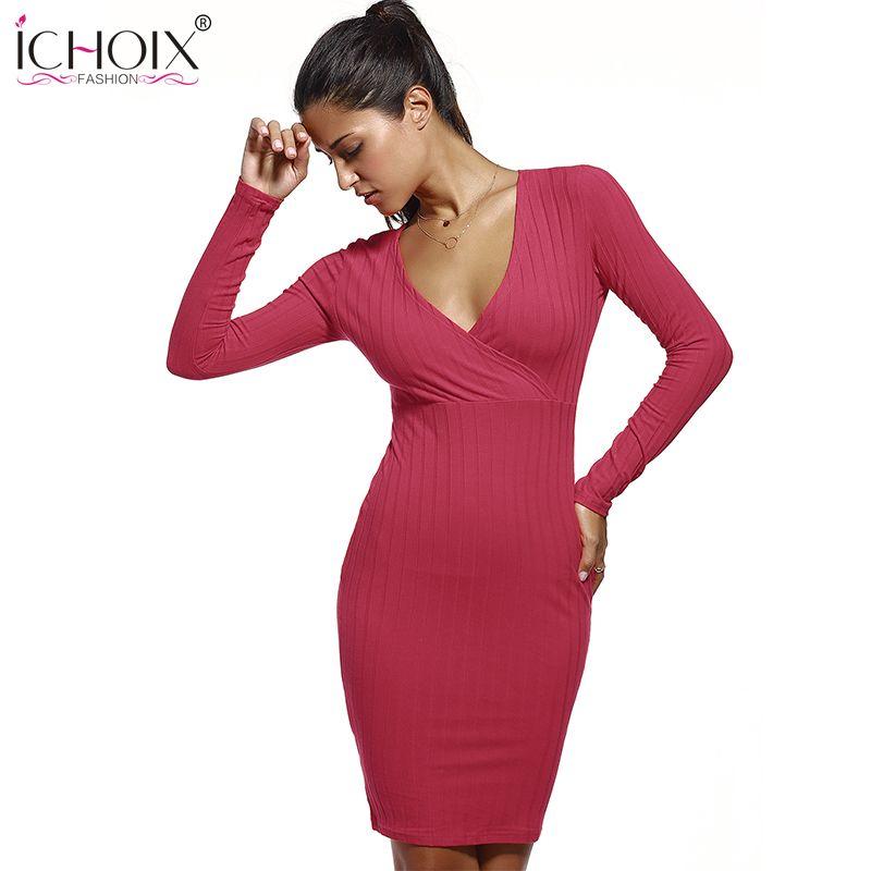 ICHOIX Women Summer Dress Pencil Mid-Long Rockabilly Sexy V-Neck Slim Dress Party Evening Club DRESS 4 Color Pure 2017
