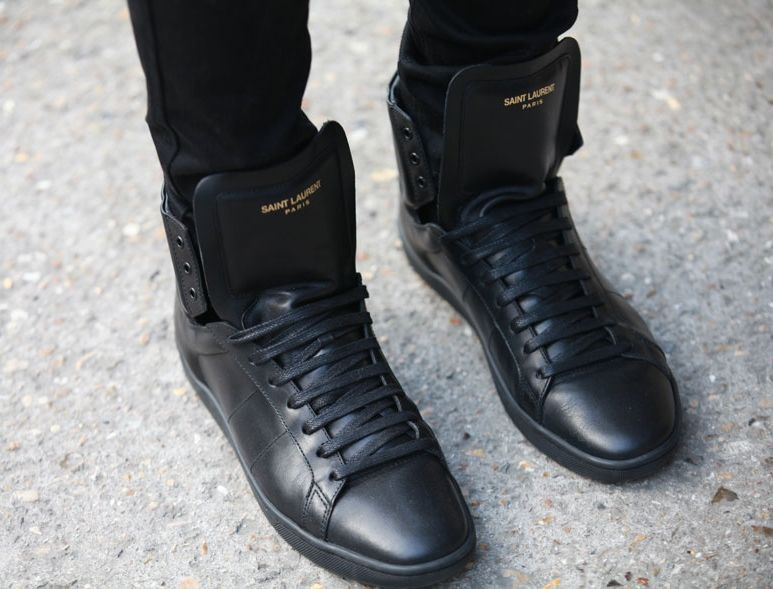 a298e148655 YSL // all black high tops. saint laurent mens sneakers - Google Search