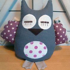 Doudou hibou gris violet blanc - réservé