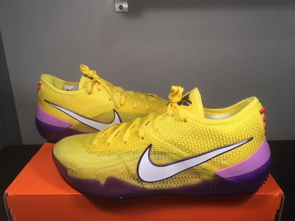 buy online 244f1 650e0 NIKE Kobe AD NXT 360 Yellow Strike Mamba Lakers Purple Men Size 7  AQ1087-