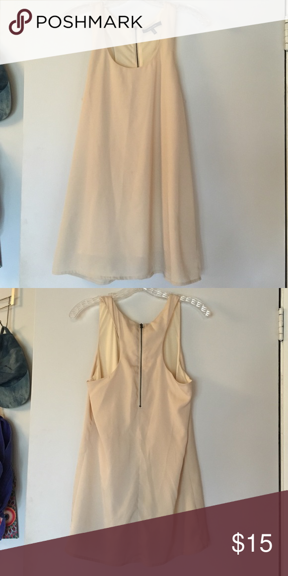 Nude dress Tan/cream straight/flowy dress. Zips up in the back. Very light material. Has underskirt. Nice but casual worn to a homecoming school dance one time. Never worn again. Naked Zebra Dresses Midi