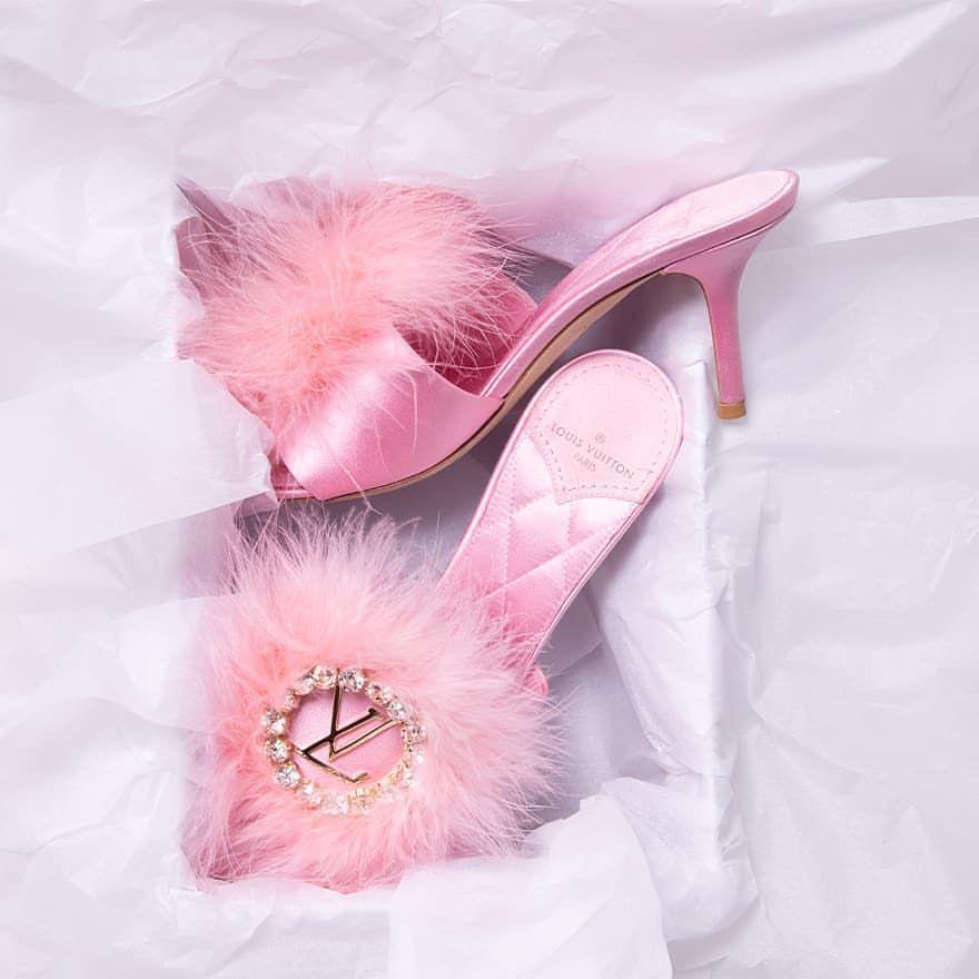 Marabou Louis Vuitton slippers, now