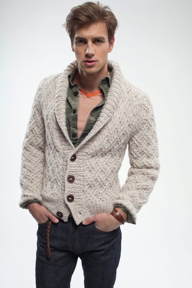 Grandson Cardigan In Rowan Alpaca Chunky Crochet Knit For Men