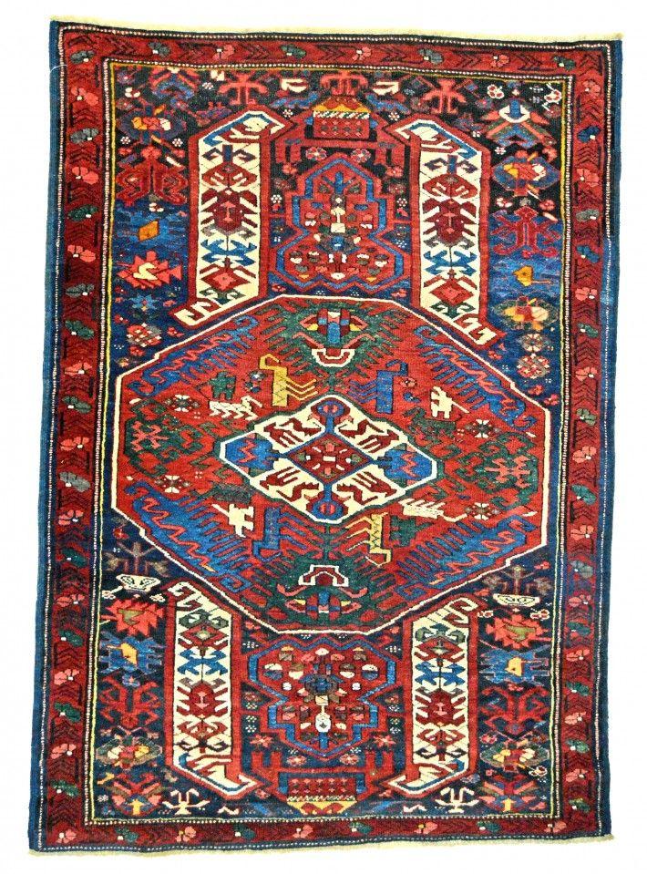 Antique Caucasian Kuba Rug, Stylized Dragon Carpet Motifs, Circa 1875