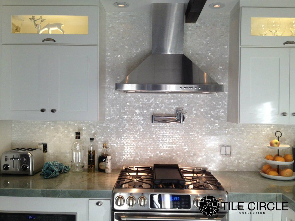 White Mother Of Pearl Minibrick Tile For Backsplash And Bathroom Eclectic Other Metro Circle